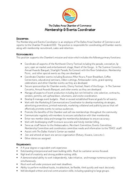 Event Coordinator Resumes by Membership Events Coordinator Description 8 1