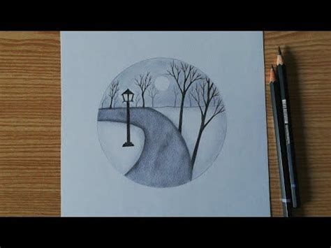 scenery   circle easy pencil drawing  beginners