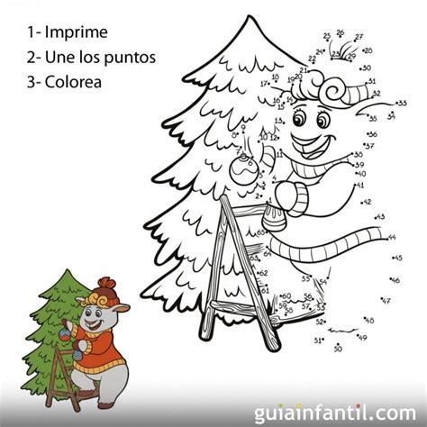 dibujo de oveja en arbol de navidad  unir numeros