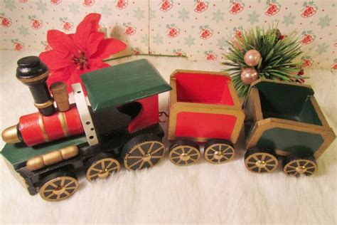 vintage wooden christmas train movable wheels detachable cars red green decoration wheels