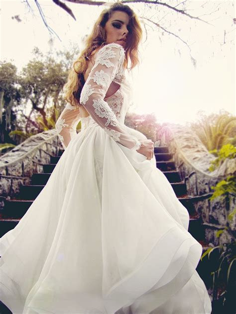 lauren elaine elise illusion lace sleeve wedding gown