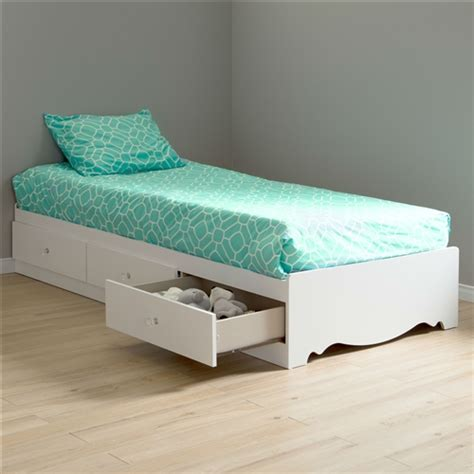 twin size white wood platform bed daybed  storage