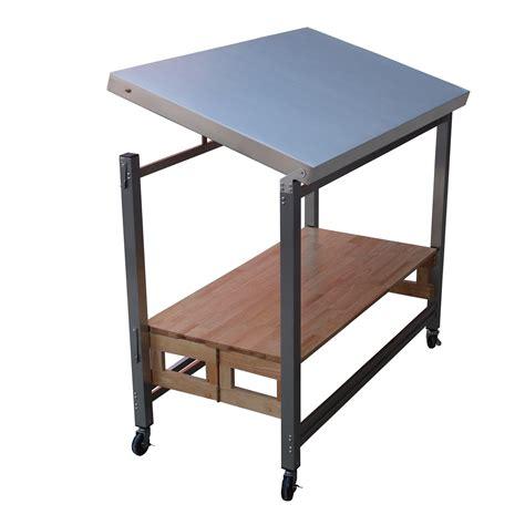 folding kitchen island  stainless steel top joss main