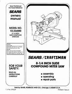 Craftsman 113234880 User Manual 8 1  4 Compound Miter Saw