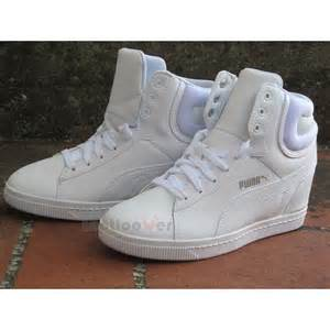 White Puma Wedge Sneakers for Women