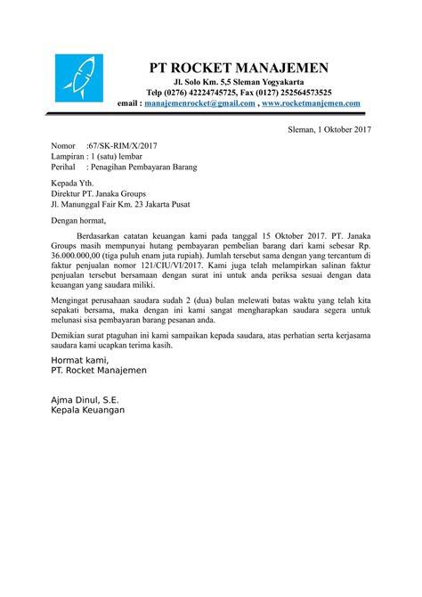 Surat Invoice by Contoh Surat Penagihan Invoice Yang Benar Contoh Surat