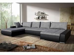 canape angle convertible tissu et simili gris noir seducto With tapis rouge avec canapé grande profondeur