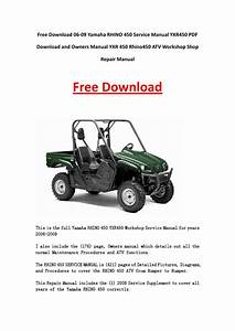06 09 Yamaha Rhino 450 Service Manual Yxr450 Pdf Download And Owners Manual Yxr 450 Rhino450 Atv