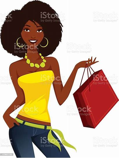 African American Woman Shopping Clipart Vector Ladies