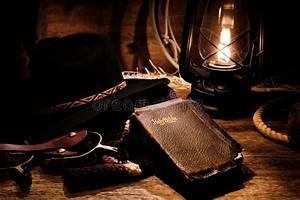 American West Rodeo Cowboy Gear And Old Holy Bible Royalty ...