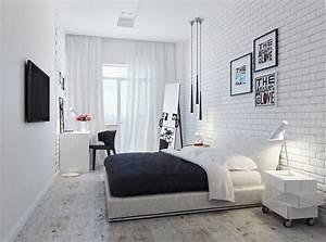 Brique De Parement Blanche : chambre adulte blanche 80 id es pour votre am nagement ~ Nature-et-papiers.com Idées de Décoration