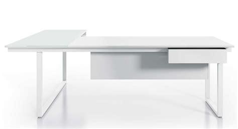 bureau en verre blanc be 1 bureau individuel 220 cm avec retour en verre blanc