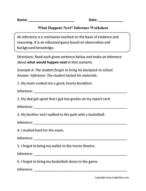 what happens next inference worksheets englishlinx board inference reading worksheets