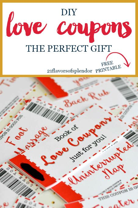 Free Printable Love Coupons The Perfect Gift  21 Flavors