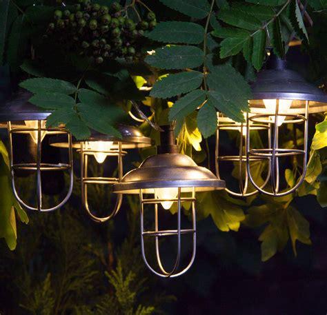 outdoor solar galvanised lantern light garland by