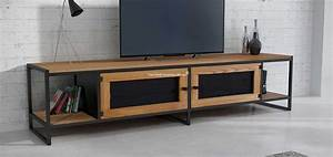 Meuble Bois Et Acier : meuble tv industriel en bois massif et acier avril ~ Teatrodelosmanantiales.com Idées de Décoration