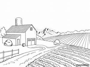 """Farm field graphic black white sketch illustration vector ..."