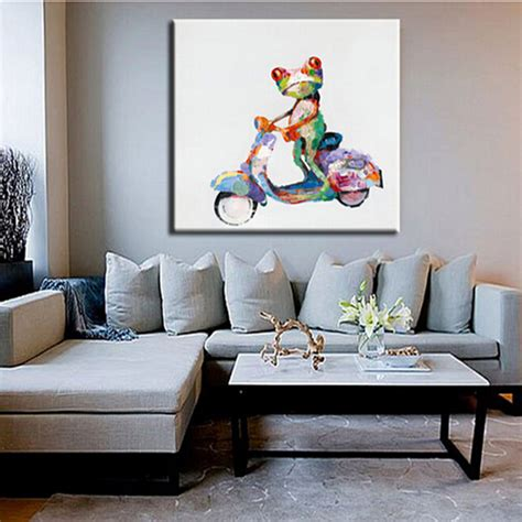 home interiors paintings aliexpress com buy ride a bike frog picture handmade modern animals painting home decor
