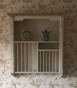 shabby french country chic cream wall mounted plate rack kitchen crockery