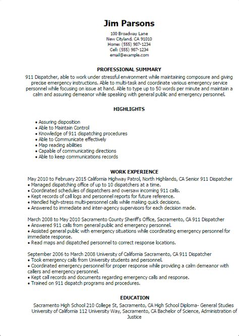 Dispatcher Resume by Professional 911 Dispatcher Templates To Showcase Your Talent Myperfectresume