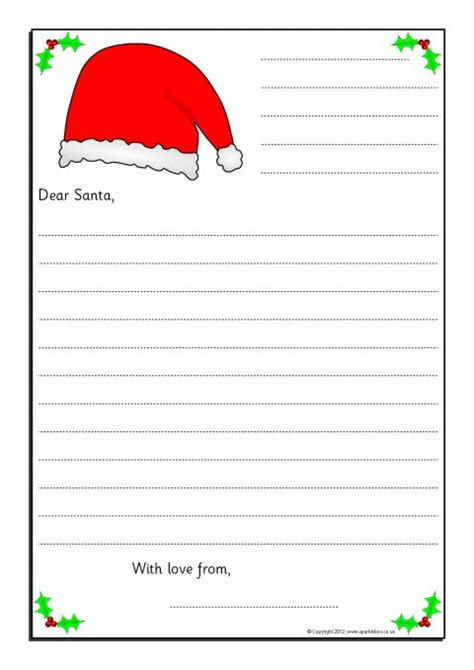 simple letters  santa writing frames  lines