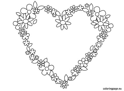 heart flowers coloring page - Coloring Pages Hearts Flowers