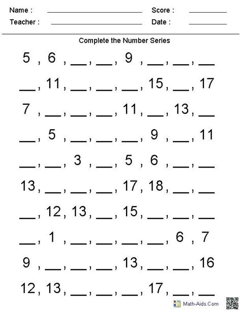 number patterns worksheets stage 3 number writing practice worksheets first grade 5 png 612 215 792 preschool pinterest