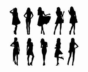 Set Of Woman Silhouettes Vector Vector Art & Graphics ...
