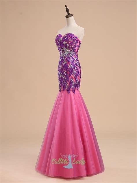 purple pink mermaid sweetheart sequined long evening