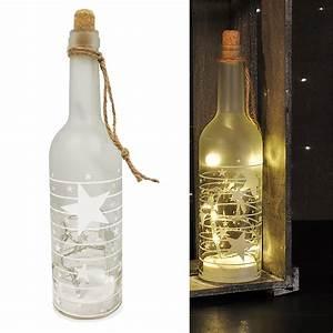 Flasche Mit Lichterkette : led deko glas flasche weihnachtsmotiv sterne warm wei ~ Lizthompson.info Haus und Dekorationen