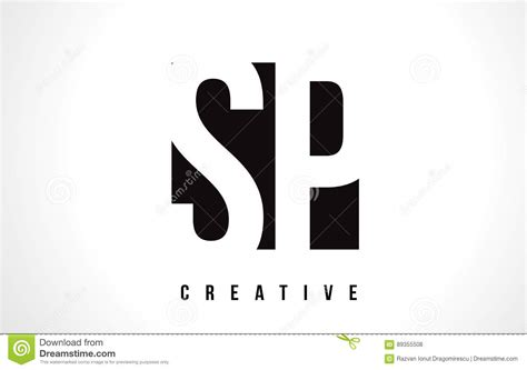 Sp S P White Letter Logo Design With Black Square. Stock