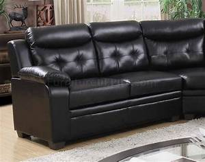3020 sectional sofa in black faux leather for Small spaces sectional sofa black faux leather