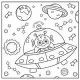 Coloring Saucer Alien Flying Outline Cartoon Space sketch template