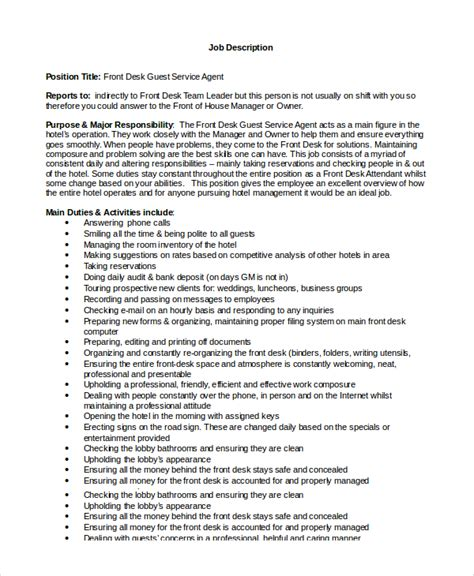 Front Desk Resume Description by Sle Front Desk Description 10 Exles In Pdf Word