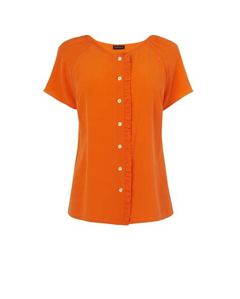 washable silk blouse jaeger frill washable silk blouse in orange lyst