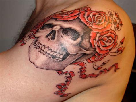 trendy roses shoulder tattoos