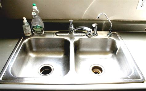 Modern Kitchen Sink With Drain Boards And Chrome Faucet