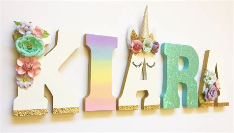 Number 3 Home Decor : Unicorn Themed Letters Home Decor Party Decorations Wood