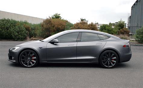 tesla model  wrapped   satin dark grey ultimate car