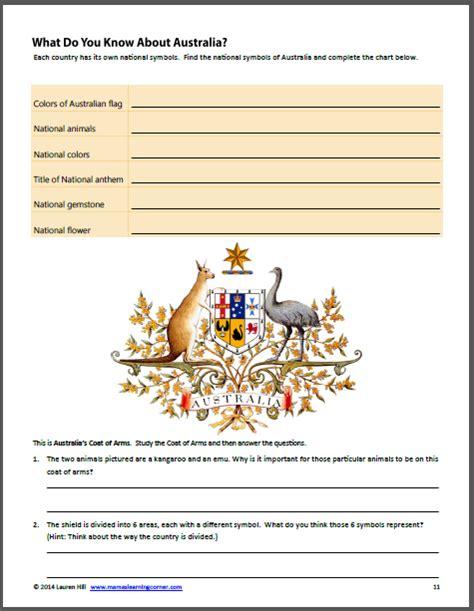 australia worksheets  st   grades mamas