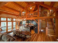 Timber Frame in the Mountains Rustic Dining Room