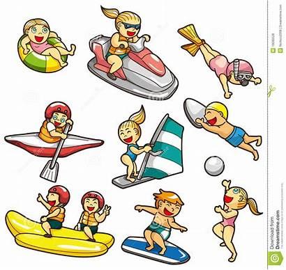 Cartoon Water Icon Watersport Extreme Het Deportes