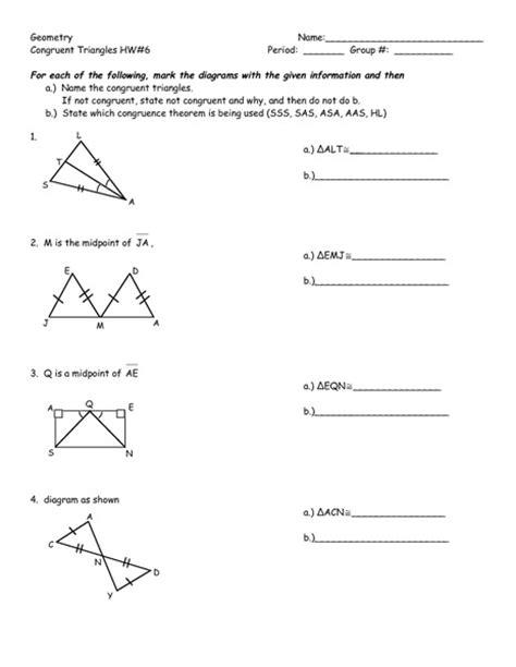 geometry congruent triangles hw worksheet