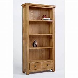 Devon large 5 shelf bookcase with drawers solid oak living ...
