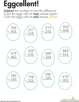 2nd grade math worksheet 3 digit subtraction with regrouping 3 digit subtraction coloring worksheet education
