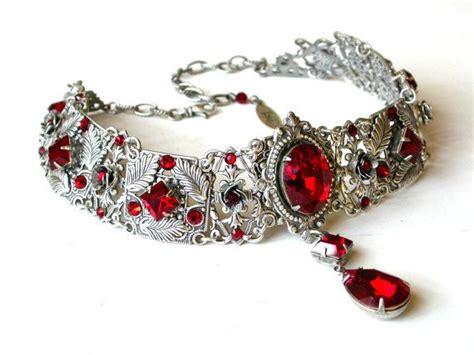 rote gothic choker viktorianischen swarovski braut