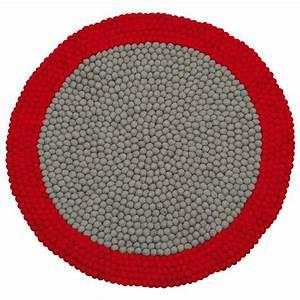 tapis enfant boules de laine neomix rouge lilipinso 90x90 With tapis enfant rouge
