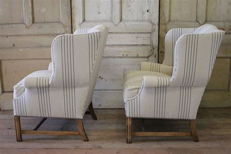 Pair Of French Linen Wingback Chairs At 1stdibs