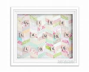 Live Laugh Love Scrabble Letters Photograph Shabby Chic