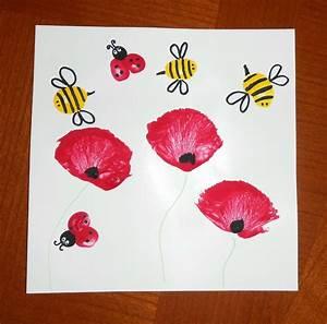 activite manuelle peinture enfants bebe coquelicots fleurs With affiche chambre bébé avec fleurs fϪte des mères